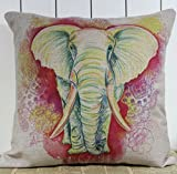 LINKWELL Colorful Elephant Wild Animal Linen Burlap Cushion Cover Pillow Case