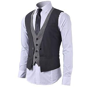 Mentrend-Leisure メンズ フェイク 2枚 ジレ ベスト スーツ仕立て ビジネススーツ チェーン付き グレー L
