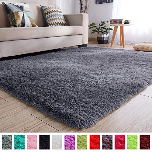 PAGISOFE Soft Kids Room Nursery Rug Bedroom Living Room Carpet 4' x 5.3',Gray (Living Room Memory Rugs For Foam)
