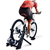 Fluid Bike Trainer Stand,Indoor Fluid Bicycle Exercise Trainer w Quiet Real Road Feel Flywheel, Supports 370lbs Portable Cycling Stand w Sweat Guard /Quick Release/ Front Wheel Riser