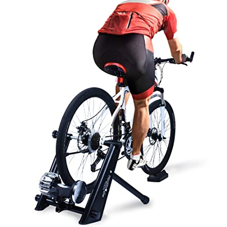 Fluid Bike Trainer Stand,Indoor Fluid Bicycle Exercise Trainer w Quiet Real Road Feel Flywheel, Supports 370lbs Portable Cycling Stand w Sweat Guard Quick Release Front Wheel Riser