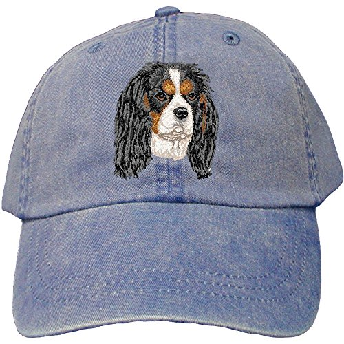 (Cherrybrook Dog Breed Embroidered Adams Cotton Twill Caps - Royal Blue - Cavalier King Charles Spaniel)