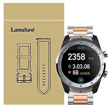 Ceston Metalica Acero Clásico Correas para Smartwatch TicWatch Pro (Oro Rosa & Plata)
