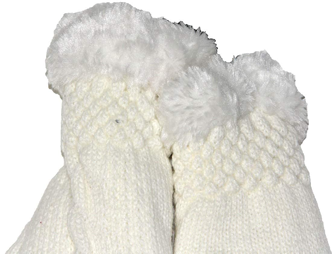 Unisex Girls Boy Cute White Wool Knitted Soft Winter Gloves Warm in Cold Weather for Women and Men one Size 4060