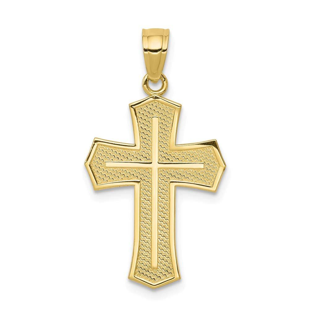1.1 in x 0.63 in Jewel Tie 10K Yellow Gold Passion Cross Pendant