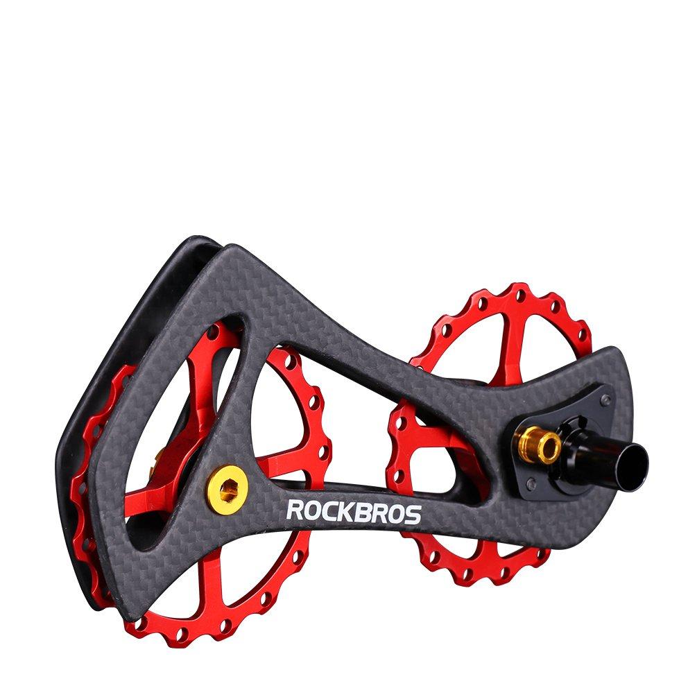 ROCKBROS(ロックブロス)17T ディレイラープーリー ビッグプーリー カーボン 自転車プーリー 20インチ以上 SHIMANO6800/6870/9000/9070Ultegra/DURA ACE等対応 B073CKDVXB レッド レッド