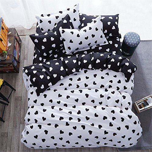 YEVEM Cotton Full/Queen Duvet Cover Set for Kids Teens Love Heart Pattern Reversible Black White 3 Piece Children Quilt Comforter Covers for Bedding Collection with 2 Pillow Shams, Style B (Heart Quilt)