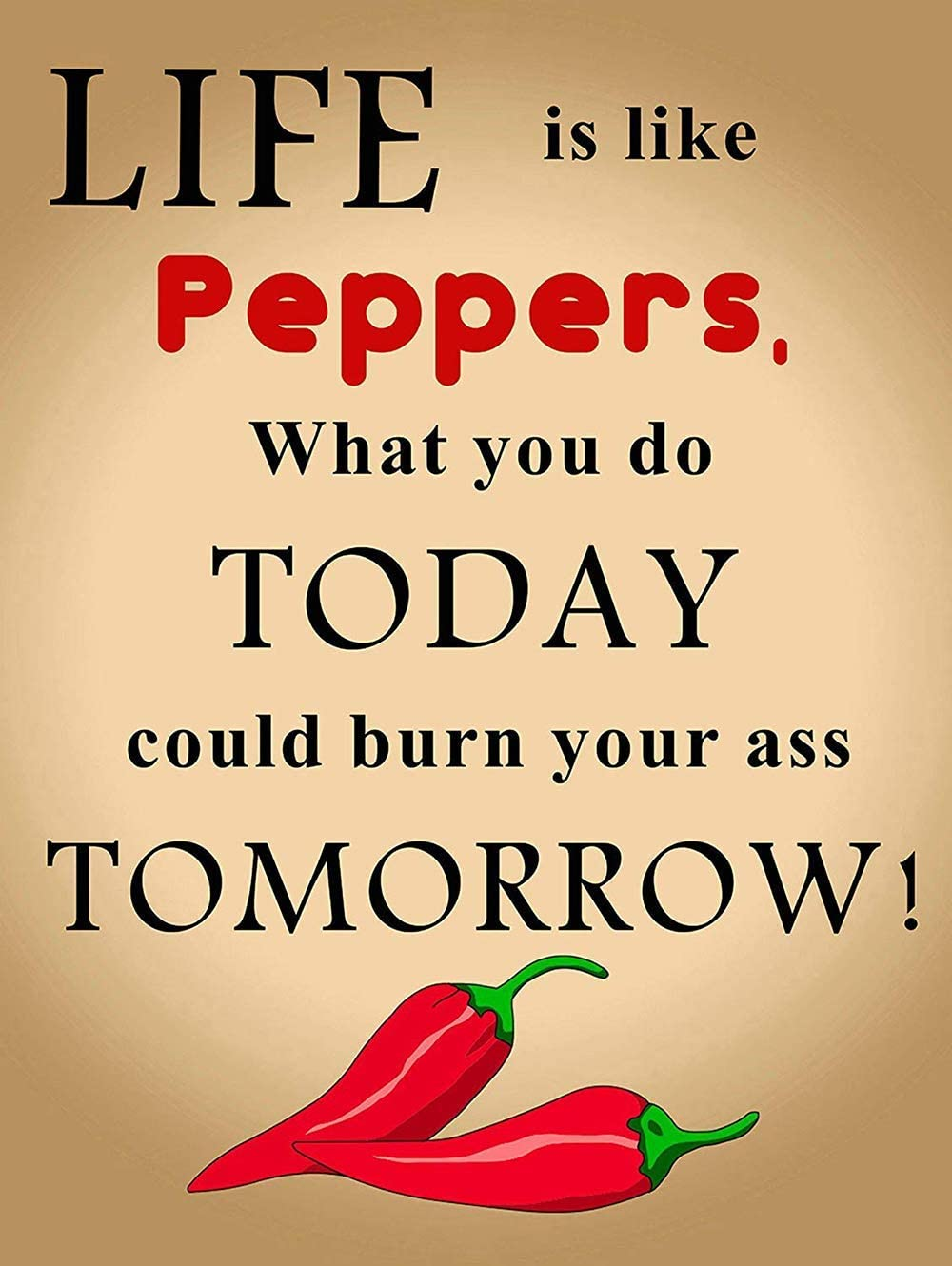 NOT Humourous Chili Pepper Tin Signs Metal Poster Warning Sign Decor for Garage Home Garden Retro Tin Sign Wall Birthday Party Bar Cafe Kitchen