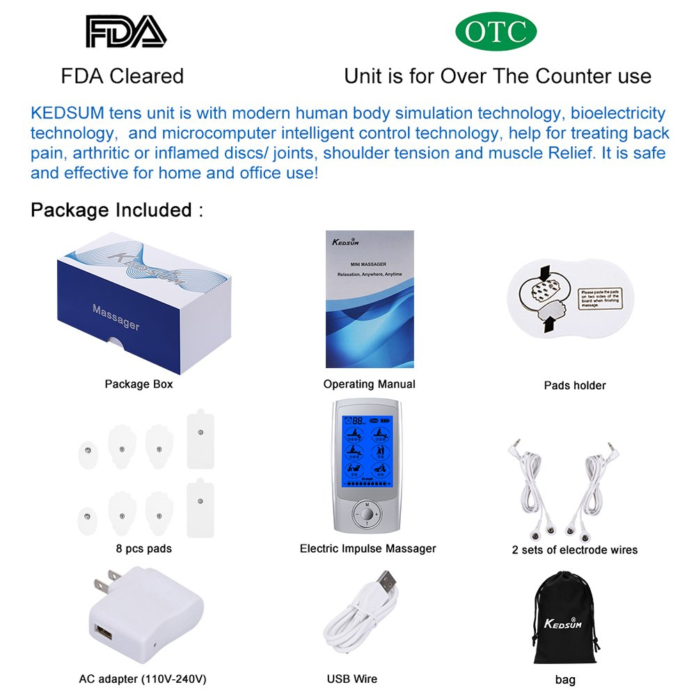 Fda Cleared Rechargeable 16 Modes Tens Unit With 8 Pads Alternative To Drugs As Treatments Electrical Energy Pulses Tr Pain Relief Machine Electric Pulse Impulse Mini Massager Muscle Stimulator Health