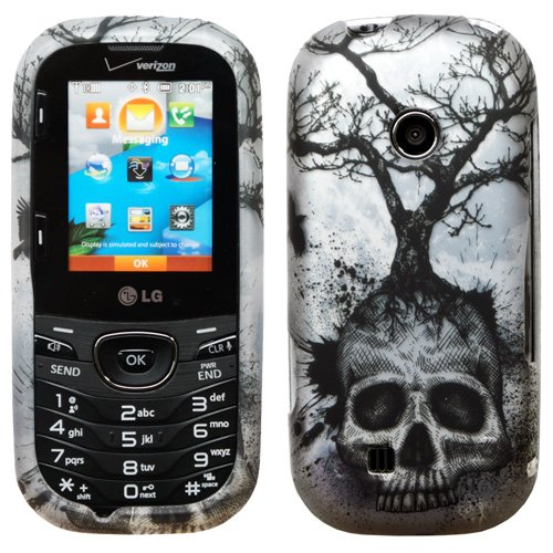 - Silver Blue Greyish Tree Black Skull Design Rubberized Snap on Hard Shell Cover Protector Faceplate Skin Case for Verizon LG Cosmos 2 3 VN251 VN251S+ Clear LCD Screen Guard Film
