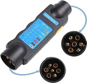 Aohewei 7 Pin Trailer Plug Socket Tester Lights Connector 12v Wiring Circuit Electrics Diagnostic Testing Tool For Trailer Caravan Truck Trailer Tester Amazon Co Uk Car Motorbike