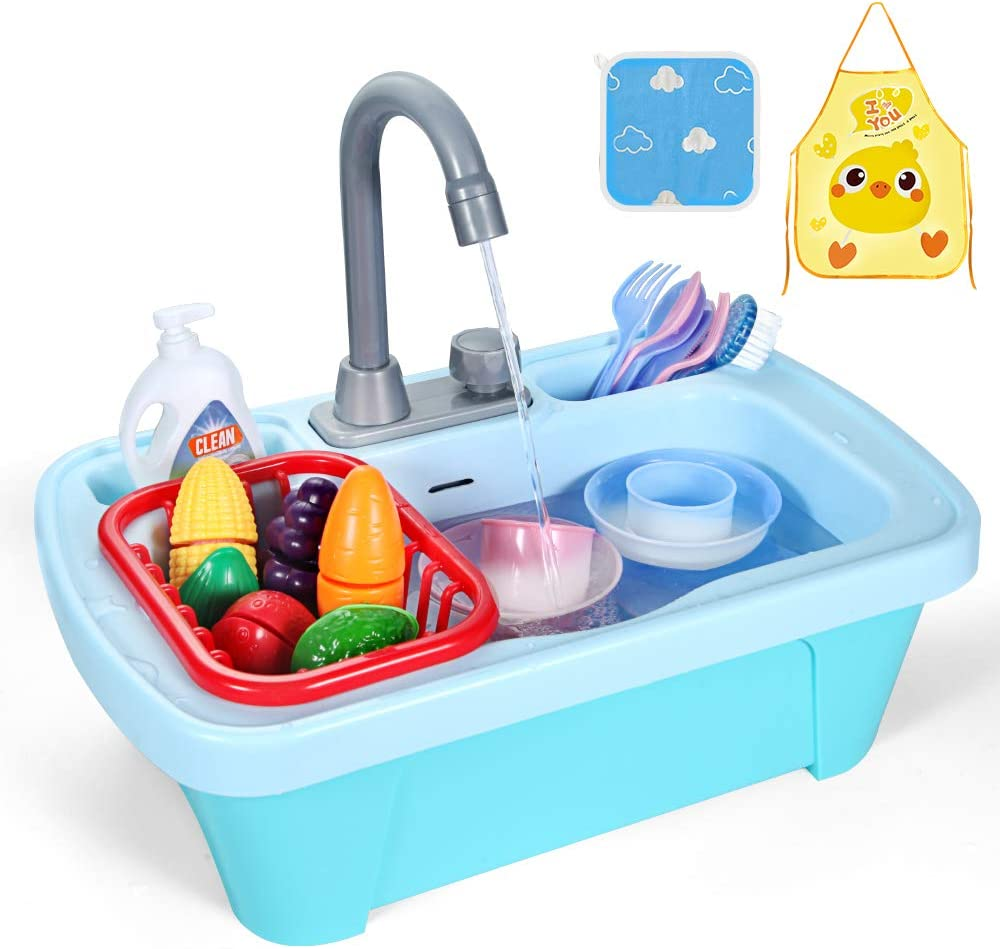 GobiDex 95°F Color Changing Play Kitchen Sink Toys,Upgraded Kids Kitchen Dishwasher Toys for Children with Running Water Auto-Cycle Pretend Role Play Kitchen Sink Toys for Boys Girls
