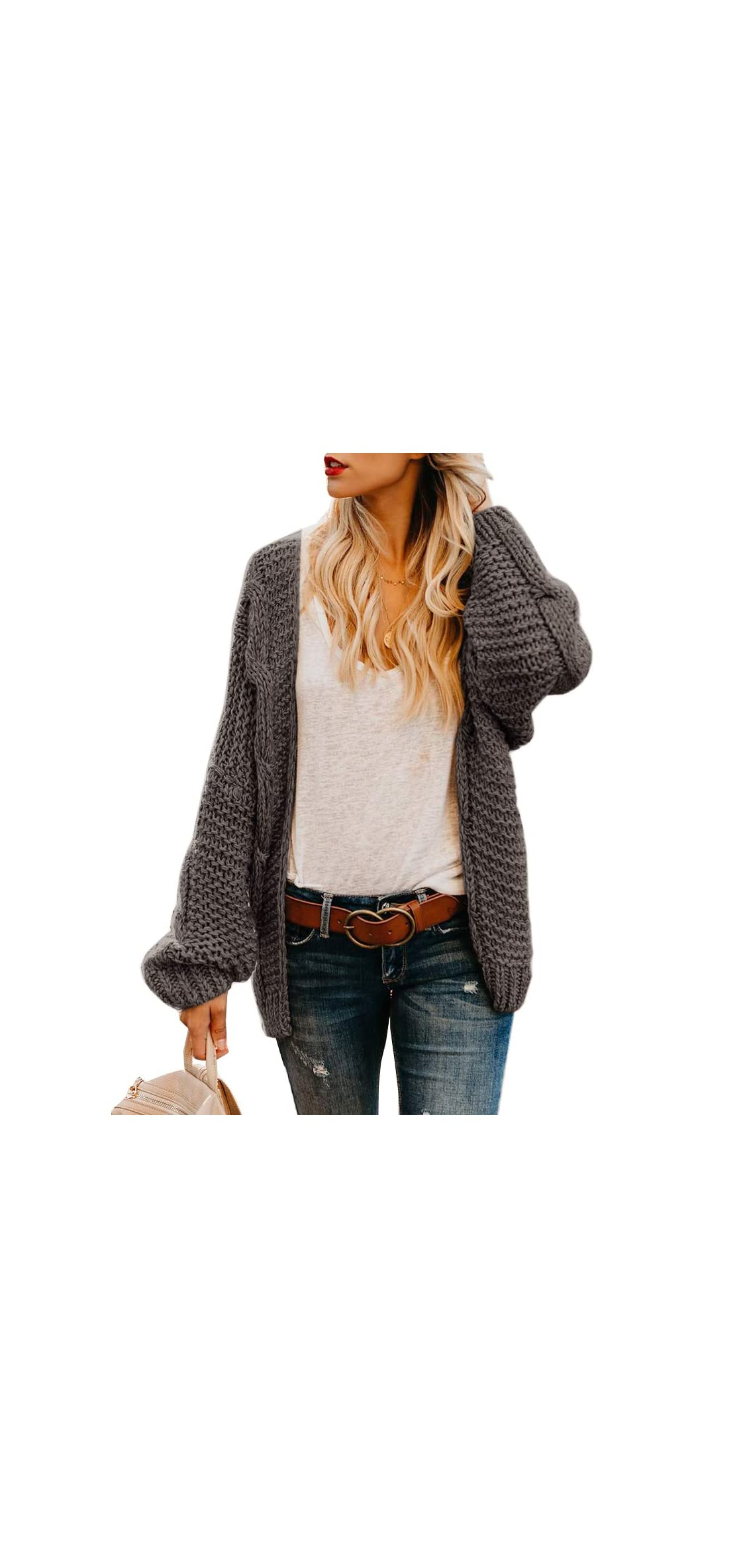 Women's Plus Size Sweaters Coat Loose Open Front Cable