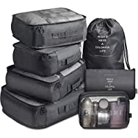 7 Pack Packing Cubes Value Set for Travel Luggage Organiser Bag Compression Pouches Clothes Suitcase Packing Organizers…