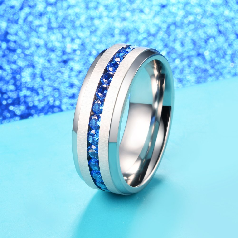 King Will 8mm Titanium Engagement Ring Wedding Band Blue Simulated Sapphire Cubic Zirconia(13)