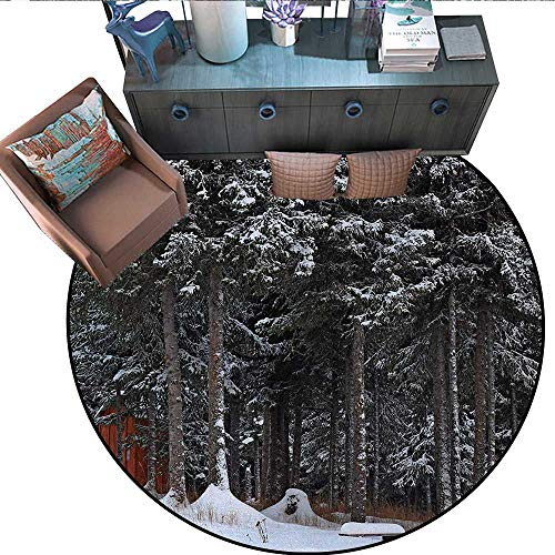 (Outhouse Round Floor Cover Winter Forest in Snow with Little Cute Barn Lumberjack Shed Art Photo Door mat Indoors Bathroom Mats Non Slip (59