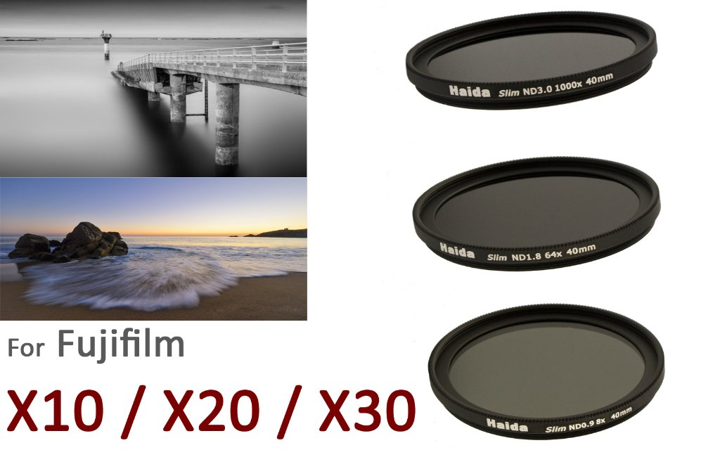 Haida - Fuji X10 / X20 / X30用スリムニュートラルフィルターセット、特殊な40 mmスレッド、ND8x、ND64x、ND1000xとレンズカバーで構成   B009VNJY9U