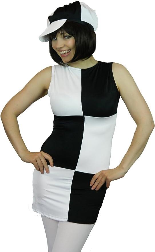 MONOCHROME MOD GIRL 1960S 1970S DISCO ADULT WOMENS FANCY DRESS COSTUME