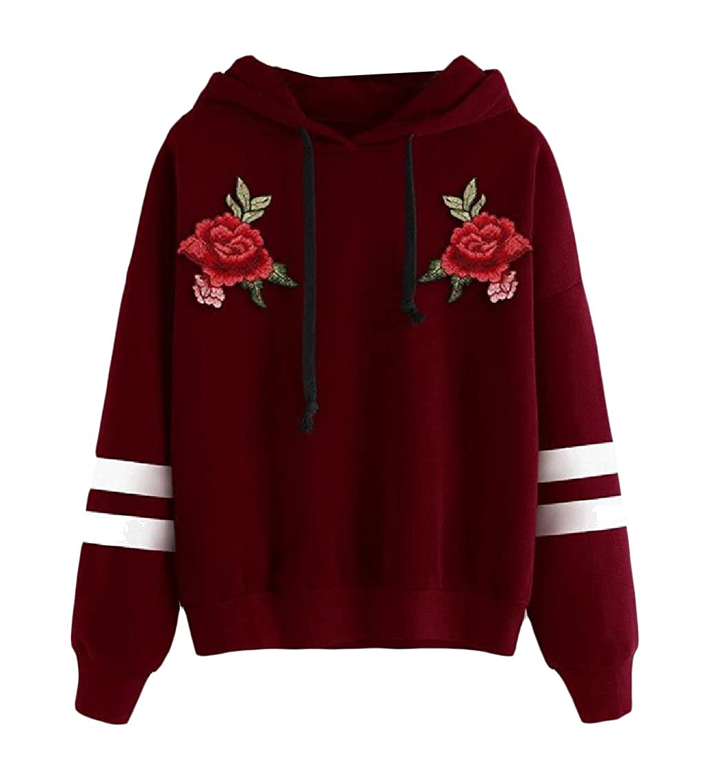 Honey GD Womens Slim Long Sleeve Embroidered Hoodies Sweater Pullover
