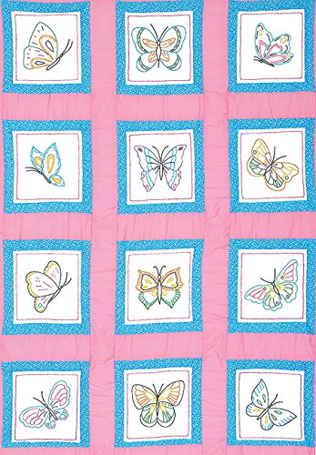 Jack Dempsey Themed Stamped White Quilt Blocks, 9-Inch by 9-Inch, Butterflies, 12-Pack Hoop Quilt Block
