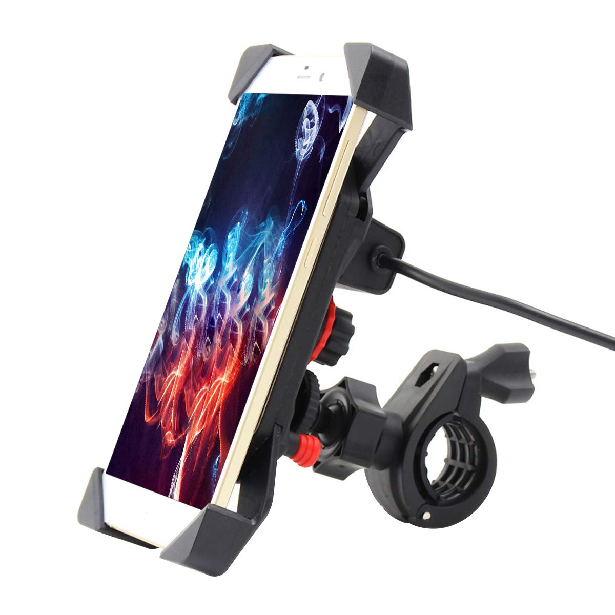 Surenhap Motorrad Handyhalterung, Premium Handyhalter mit 5V 2A USB-Ladeanschluss, Universal-Handy-Halter fü r Apple iPhone, Samsung Nexus & GPS Navigatoren, 4-6 Zoll Einstellbare Cradle Clamp