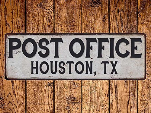 ACOVE Houston Tx Post Office Vintage Look Metal Sign Chic Retro - 4x18 inch
