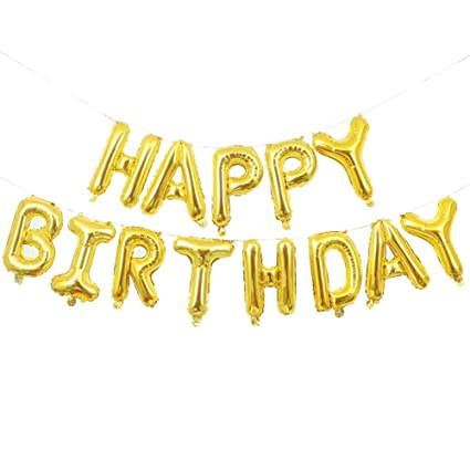 Happy Birthday Balloons Merssyria Gold Letters 13 Inches For Decorations