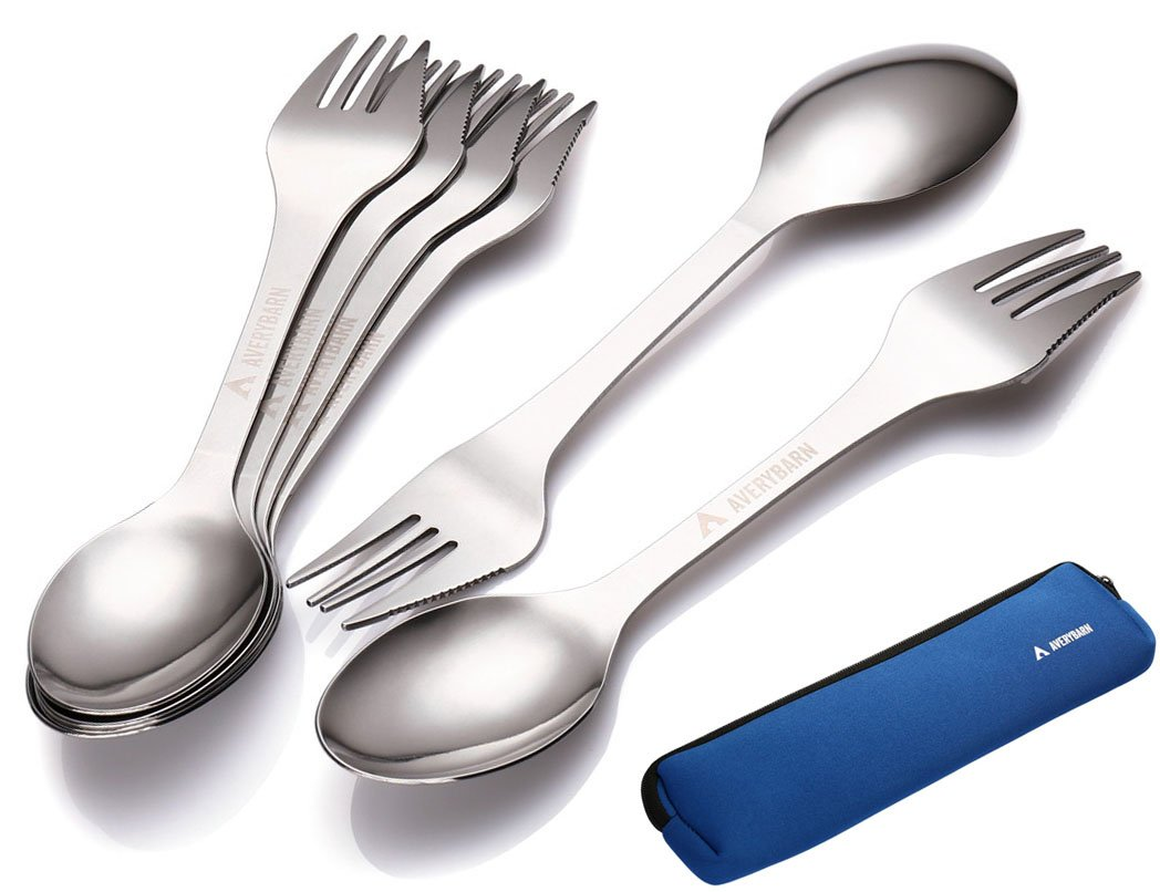 Avery Barn 6pc All-In-One Camping Utensils Cutlery Set - Spork Stainless Steel - Survival Gear Supplies for Backpacking Hiking Compact Mess Kit - 3-in-1 Fork Knife Spoon with Travel Case