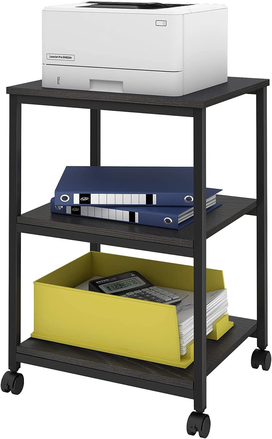 DEVAISE Mobile 3-Shelf Printer Cart, Printer Stand on Wheels for Office Home, Black