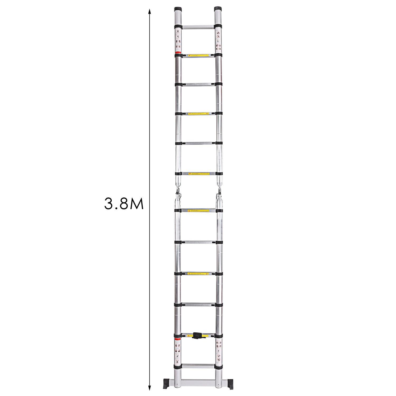 ,/Échelle Escabeau T/élescopique En Aluminium 16 Echelons 2,5M+2,5M Charge max 150 kg /Échelle T/élescopique Portable et Pliante 5M 2,5M + 2,5M 5M