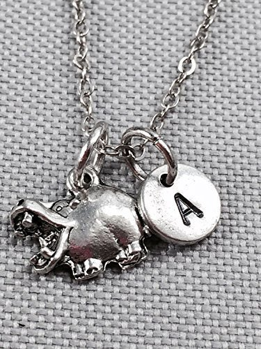 (Hippo charm necklace, animal necklace, personalized necklace, initial necklace, animal jewelry, hippopotamus necklace, hippopotamus jewelry)
