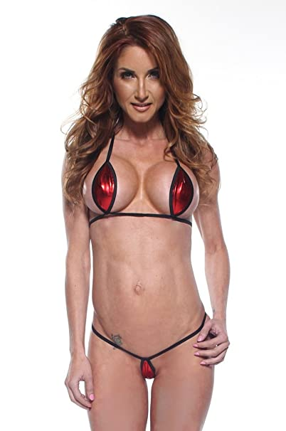 1e7a66301bf73 Amazon.com  Solid Red Foil Sexy Mini Teardrop Bikini 2pc Top Micro G-String  w  Black String (Small)  Clothing
