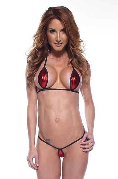 52a0baf2f5a8b Amazon.com  Solid Red Foil Sexy Mini Teardrop Bikini 2pc Top Micro G-String  w  Black String (Small)  Clothing