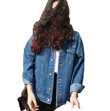 2018 Vintage Harajuku Oversize Loose Female Jeans Coat Solid ...