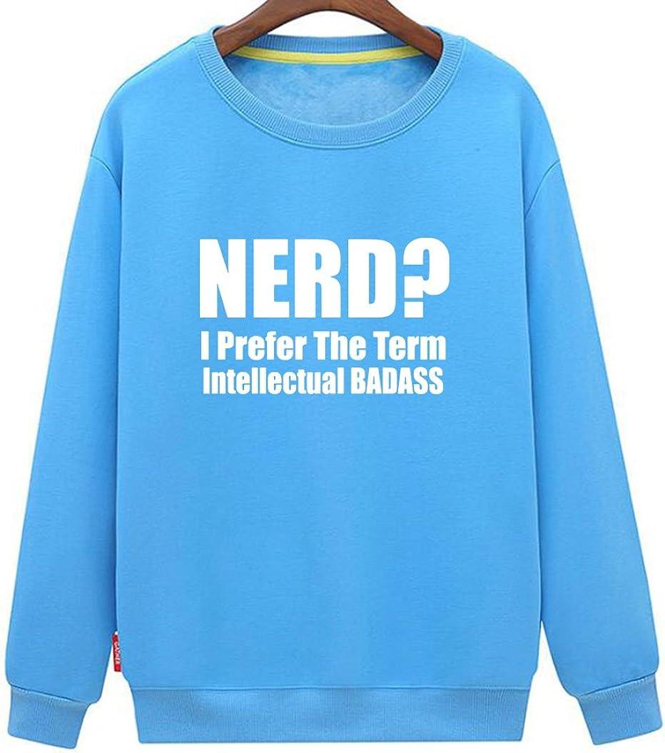 Mens Long Sleeve Cotton Hoodie Nerd I Prefer The Term Intellectual Badass Sweatshirt
