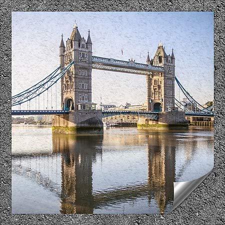 5-Pack London Circle CaptureTower Bridge Reflecting Into River Thames | 24x24 England UK -Square Outdoor Contour Wall Decor CGSignLab
