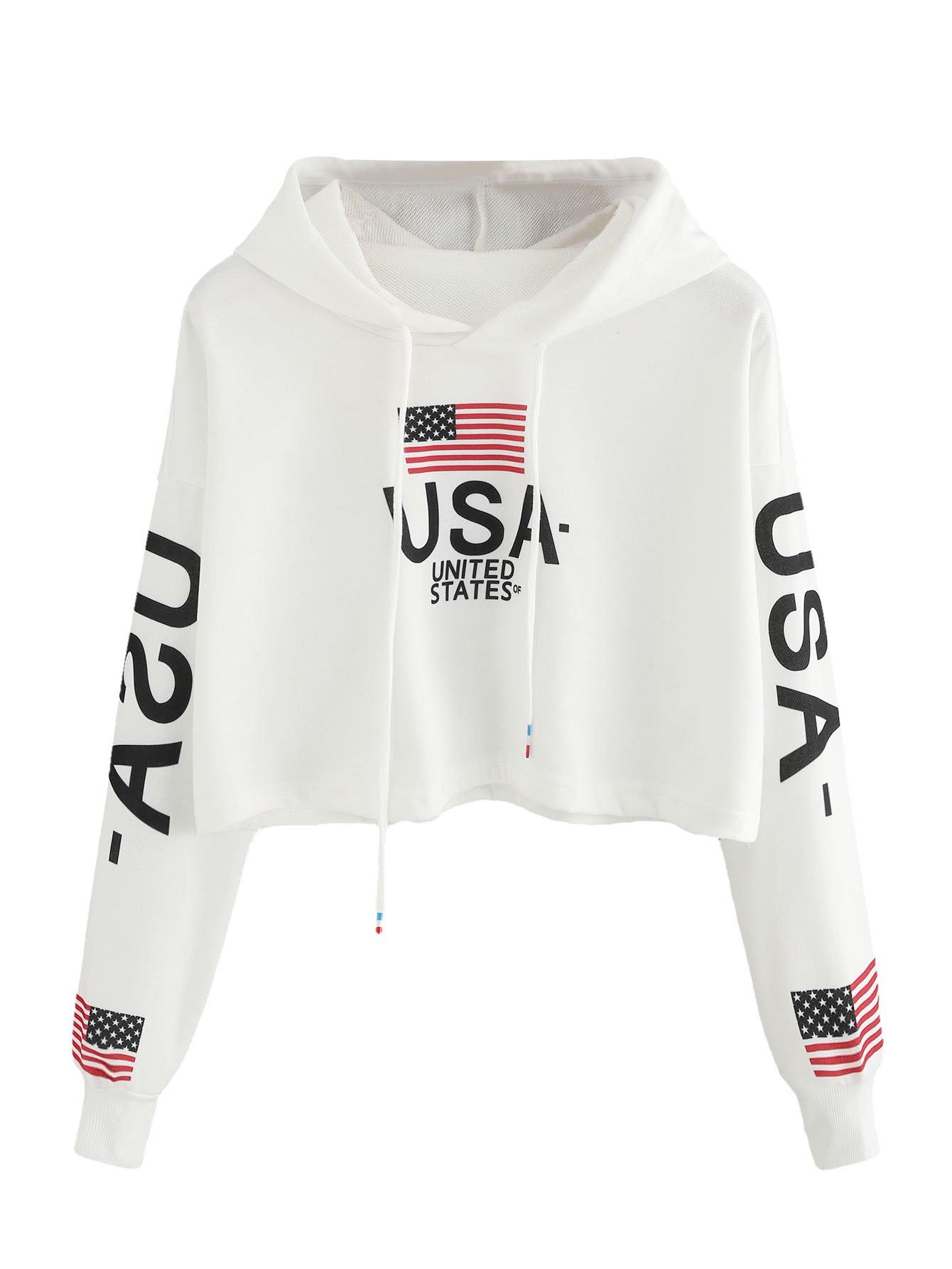 MakeMeChic Women's Round Neck Casual Letter Print Striped Crop Sweatshirt Top White-Hoodie S