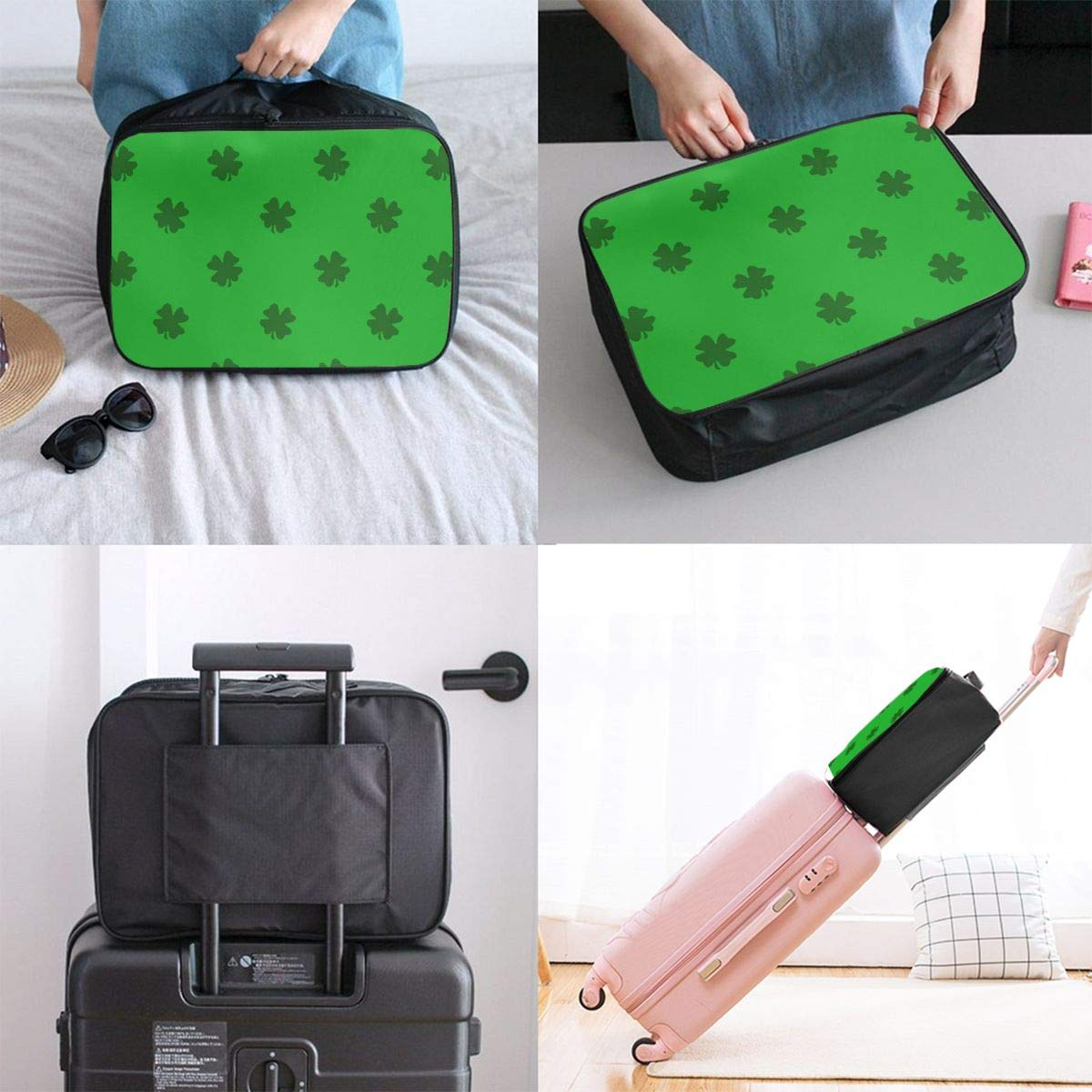 Saint Patrick Shamrocks Traditional Travel Lightweight Waterproof Folding Storage Carry Luggage Duffle Tote Bag Large Capacity In Trolley Handle Bags 6x11x15 Inch