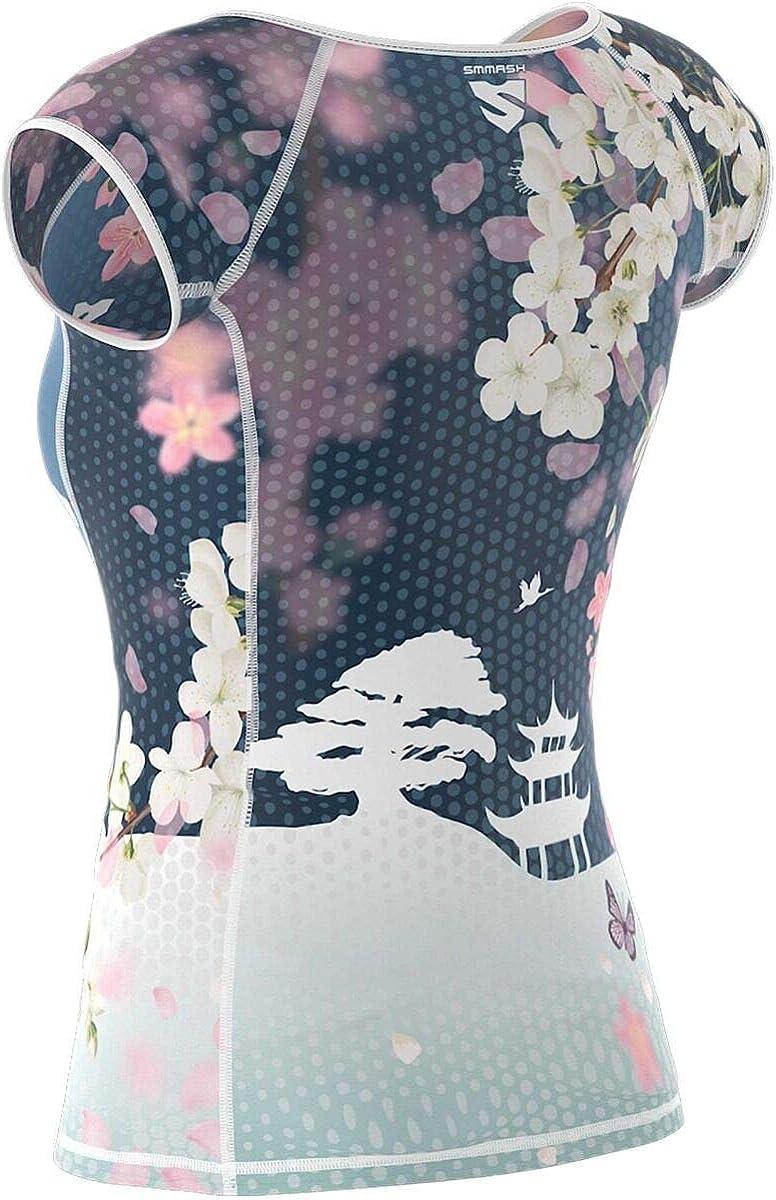 SMMASH Dreamy Sunset Damen Compression Funktionsshirt Kurze Gym Hergestellt in der EU Sportshirt Damen Atmungsaktiv und Leicht Antibakterielles Material Sport Funktionsshirt f/ür Crossfit