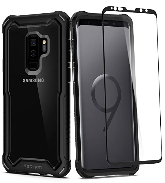 huge selection of c9f25 1a83e Spigen Hybrid 360 Designed for Samsung Galaxy S9 Plus Case (2018) Glass  Screen Protector Included - Black