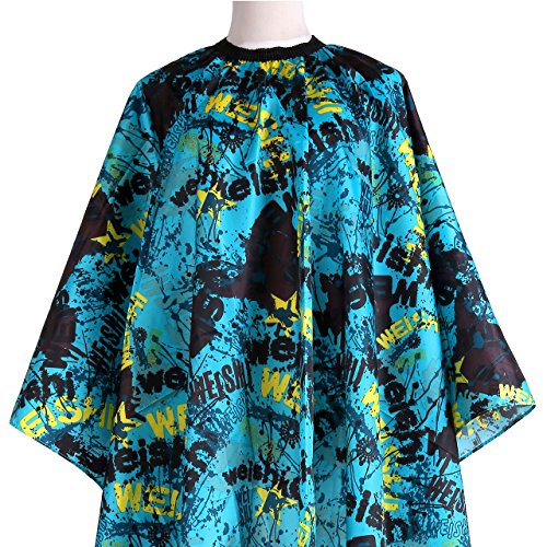 CozyCabin Professional Hairdressing Adult Hair Cutting Cape Apron Haircut Gown salon Hair Cape Dye Coloring Barber Cape Cover for Shave Makeup(Letters-Blue) by CozyCabin
