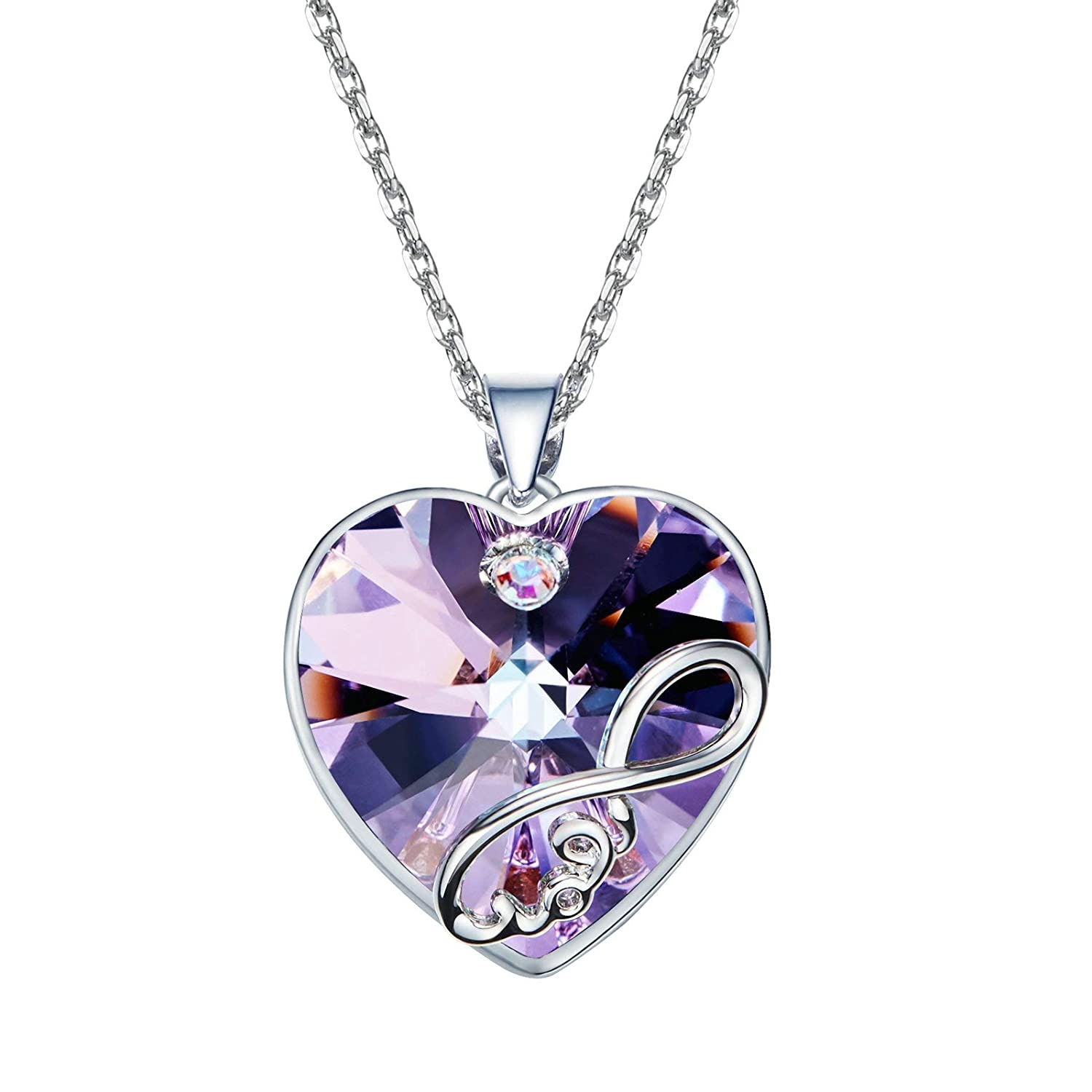 Aooaz Brass Necklace Womens Girls Heart Crystal with Eight Pendant Necklaces Anniversary
