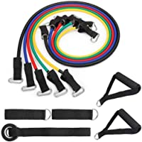 Resistance Bands Set Exercise Bands, Home Workouts with 5 Fitness Tubes, 2 Foam Handles, 2 Ankle Straps, Door Anchor, Carrying Pouch-Yoga, Crossfit, Pilates for Physio Home Gym Equipment