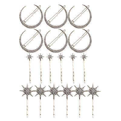 Homyl 18x Horquilla Pinza para Pelo Pasador de Rhinestone Luna Estrella: Juguetes y juegos