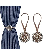 MoKo Crystal Flower Magnetic Curtain Tiebacks, 2 Pack Window Curtain Decorative No Drilling Drapery Holdbacks Flower Curtain Buckle with High-elastic Spring Wire for Home Office Decor, Bronze & Silver