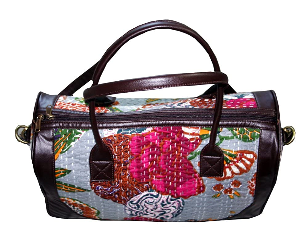 HandicraftWorld Men s   Women Luxury Leather with Cotton Kantha Vintage  Travel Bag GYM Bag Hobo and your according  Amazon.in  Shoes   Handbags 53b97038854d5