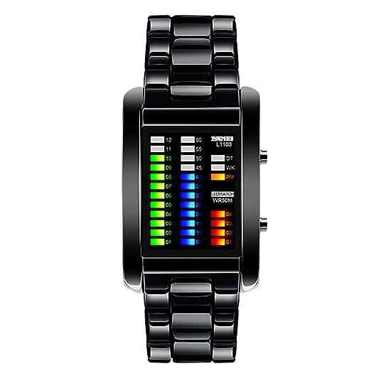 Vemupohal hombre binario Matriz azul Digital LED reloj de 50 m resistente al agua militar acero inoxidable hombres relojes de pulsera: Amazon.es: Relojes