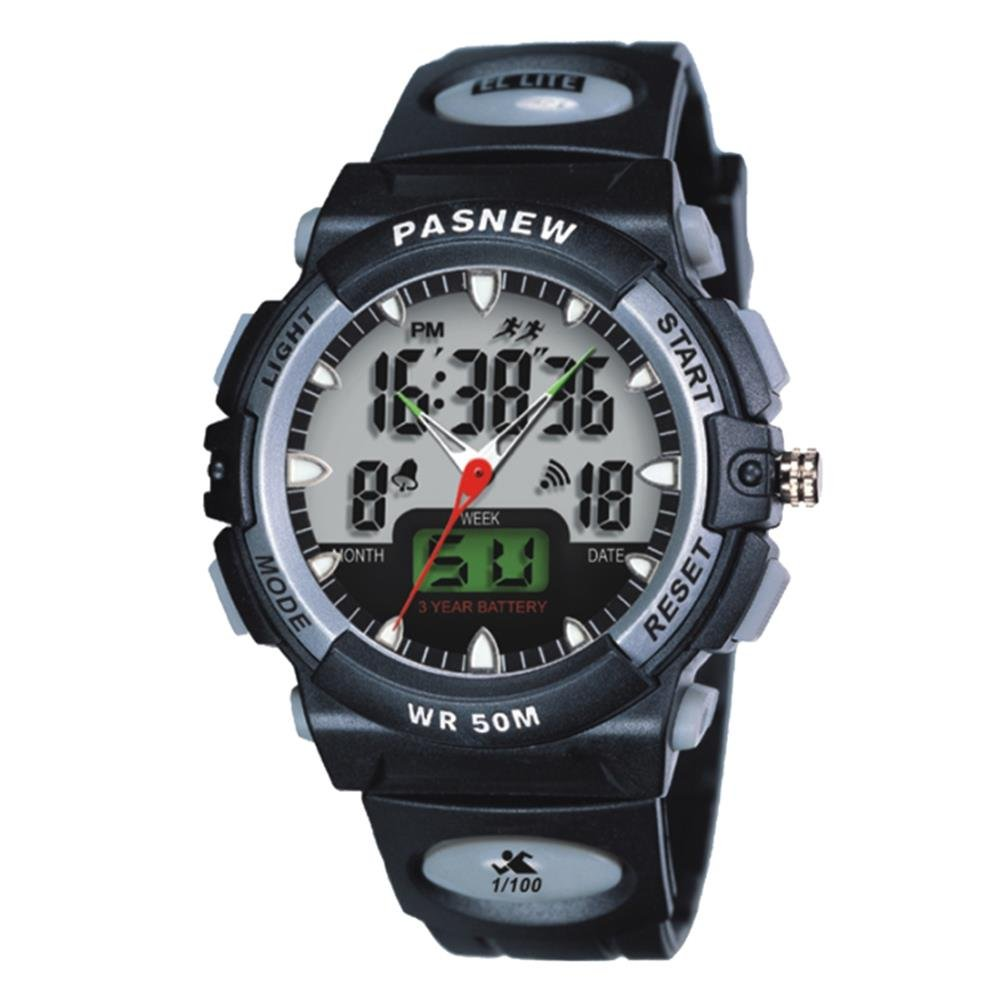 Jewtme Kids boy Watches 50m Digital-Analog Water-Proof Sport Swimming Digital Watch for Boys Girls-Black