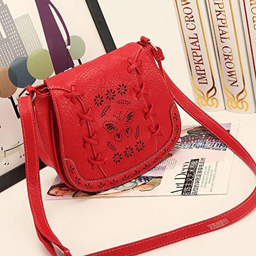 Motif à Rouge en Classique Creux Sac à avec Mini pastèque Sacs Femmes de Rétro Bandoulière Cuir Artificiel Main BqUOfwE