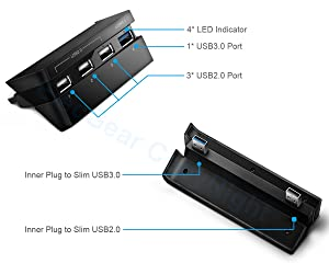 2-in-1 Turbo Cooling Fan & USB Hub Combo Kit for PS4 Slim - ElecGear Auto Temperature Controlled Heat Exhaust Cooler, 4-Port USB3.0 Expansion Adapter Charger Controller Splitter for Playstation Slim (Color: PS4 Slim)